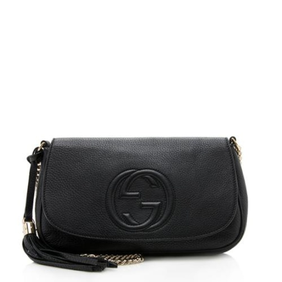 Gucci Handbags - Gucci Soho Chain Strap Black Leather Crossbody Bag
